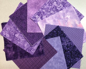 """Purple Quilt Fabric Charm Squares - 30 -5"""" squares-  Quilt Kit, Quilt Blocks by SEW FUN QUILTS"""