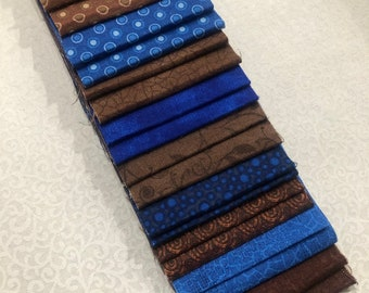 Blue & Brown Jelly Roll Quilt Fabric Strips - SEW FUN QUILTS Time Saver Quilt Kit- 1 Roll - 20 Strips