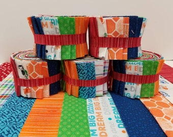 Child Jelly Roll Quilt Strips Red Blue Orange Yellow Green with Monkeys - 20 Quilt Fabric Jelly Roll Strips - SEW FUN QUILTS