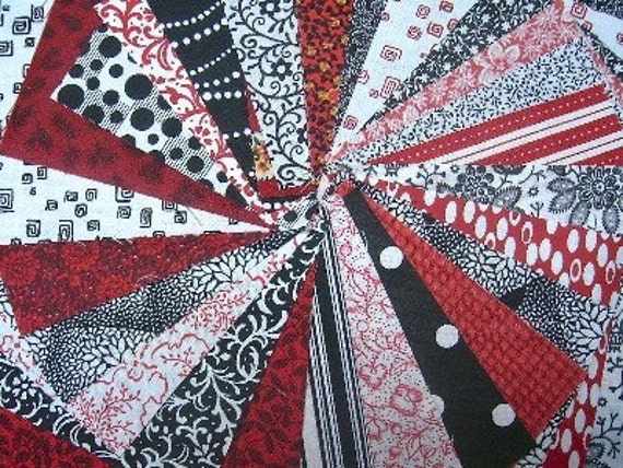 Red Black And White Quilt Fabric Squares Sew Fun Quilts Time Saver Quilt Kit