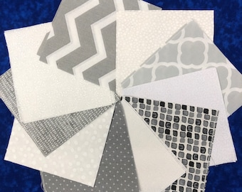 Gray and White Quilt Fabric Squares Quilt Charm Squares - by SEW FUN QUILTS Time Saver Quilt Kit -