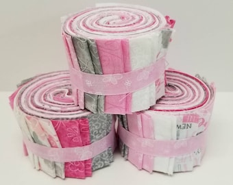 Baby Girl Quilt Kit- Pink White and Gray Quilt Fabric Jelly Roll Strips - SEW FUN QUILTS Time Saver Quilt Kit - 1 roll