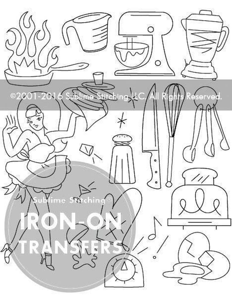 KRAZY KITCHEN  Iron On Hand Embroidery Transfer Patterns / Modern  Contemporary Designs Sublime Stitching