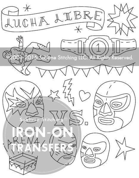 Lucha Libre Iron On Hand Embroidery Transfer Patterns Etsy