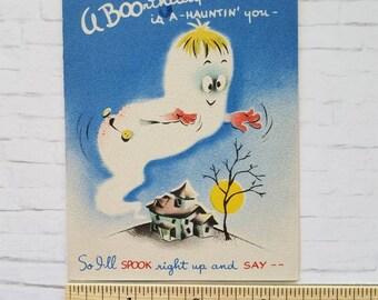 Vintage Ghost Birthday Card, Used