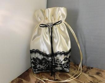 Ivory Satin Black Lace Rhinestone Heart Wedding Satchel Purse Pouch Money Bag Makeup Bag Phone Bag Dollar Dance Bag Ivory Purse Prom Purse