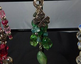 Purse Zipper Charms Beaded Jewelry Green Lucky Clover Charm Work Lanyard Handbag Identification tag key ring