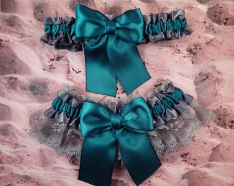 527a4938396 Teal Blue Steel Gray Grey Ribbon Gray Lace Bridal Wedding Garter Toss Set