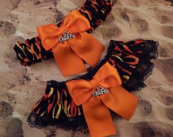 Motorcycle Flames Orange Satin Double layers Black Lace Wedding Garter Toss Set