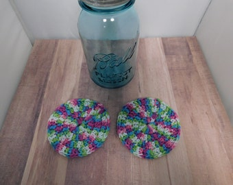Rainbow Purple Coasters Crocheted 4 inch Green Purple Gray Home Decor Coffee Tea Accessories Beverage Drink Coaster Handmade