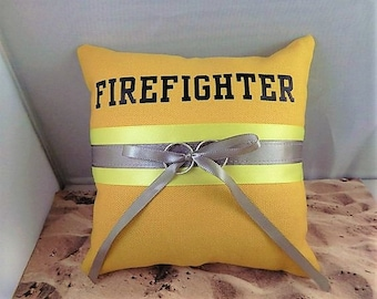 Fire fighter YOUR NAME MONOGRAM Turnout Bunker Gear Bright Yellow Gray Satin Wedding Ring Bearer Pillow