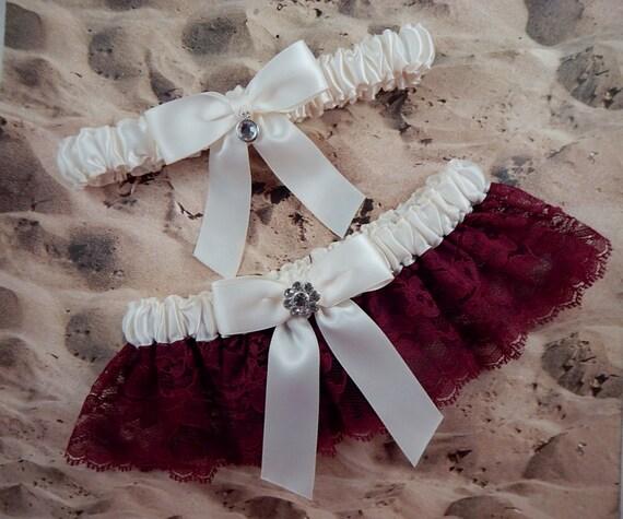 Burgundy Red Wine Lace Ivory Satin Rhinestone Flower Wedding Bridal Garter Set
