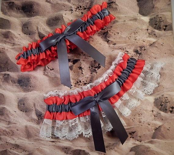 Dark Coral Pewter Gray Grey Satin Ivory Lace Wedding Bridal Garter Toss Set