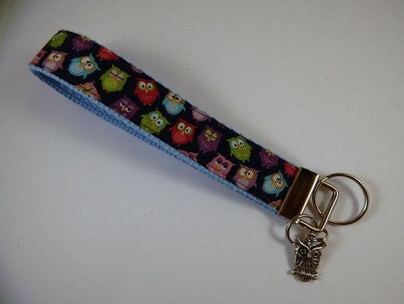 Bracelet de charme lanière porte-clé hibou noir chouette impression clé Fob porte-clés