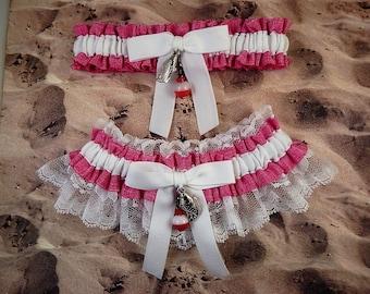 Fishing Pink Linen look Ribbon White Twill White lace Fish Bobber Charm Wedding Bridal Garter Toss Set
