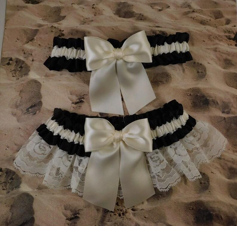 Garter set of 2 Ready to ship Black Satin Ivory Satin Ivory Lace Wedding Bridal Garter Toss Set