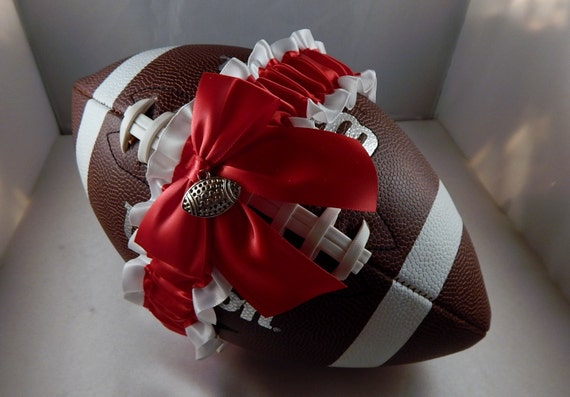 Football Toss Garter Red Bow White Satin Football Charm Wedding Accessories Football Band ( Football not included)