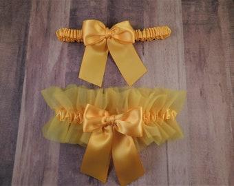 Wedding Garter Set Yellow Light Gold Satin Yellow Light Gold Tulle Bridal Wedding Garter Toss Set