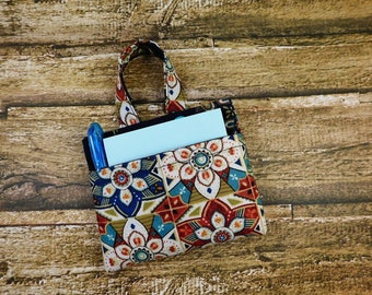 Sticky Note Pad Pen Turquoise Medallion Fabric Holder Organizer Attachable Refillable