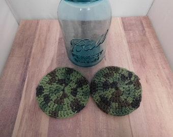 Camo Coasters Crocheted 4 inch Greens Home Decor Mancave Coffee Tea Accessories Beverage Drink Coaster Handmade