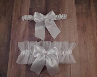 Wedding Garter Set White Satin White Tulle Bridal Wedding Garter Toss Set