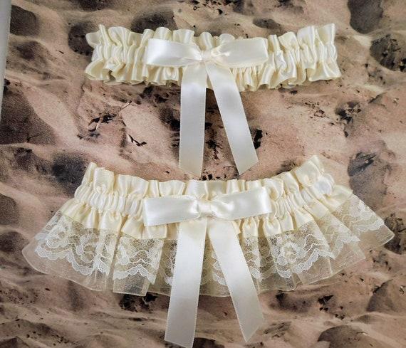 navy blue Organza ivory ribbon Wedding Garter set