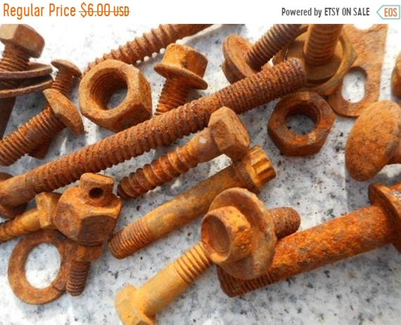 SALE Rusty Screws Nuts and Bolts for assemblage art home decor sculpture