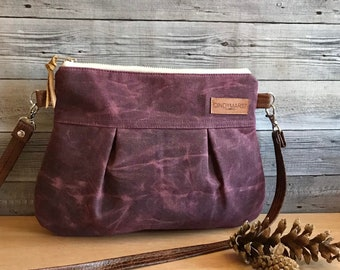 Plum waxed canvas crossbody Pleat Small purse/ crossbody handbag/ zipper pouch/detachable shoulder strap
