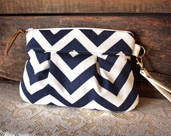 Pleated Chevron Wristlet/ Pouch/ Clutch// Nautical stripe / Navy/White color-READY to ship-