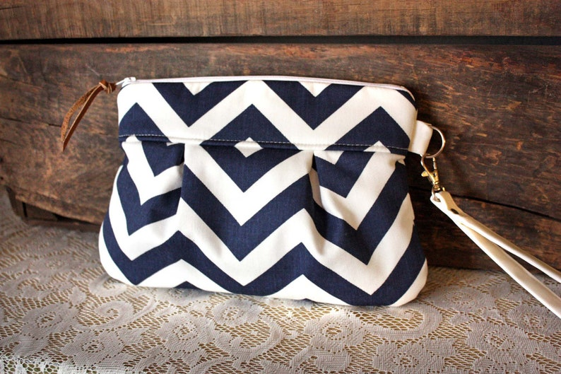 Pleated Chevron Wristlet/ Pouch/ Clutch// Nautical stripe / image 0