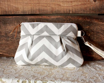 Grey white Chevron Wristlet Pouch Clutch Nautical stripe---MADE TO ORDER
