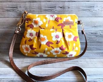 Marigold Floral Crossbody Pleat Small purse/ crossbody handbag/ zipper pouch/detachable shoulder strap