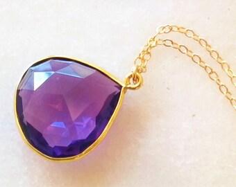 Purple Amethyst Pear Drop Pendant Necklace in Gold