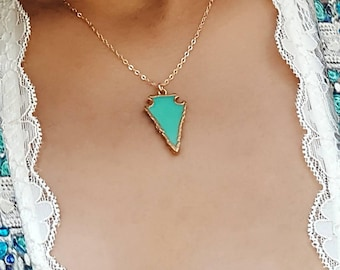 Arrowhead Pendant Necklace, Gift for Her, Bohochic Necklace, Bohemian Necklace
