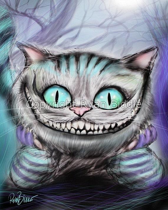 Chat Du Cheshire D Alice Au Pays Des Merveilles Dessin Etsy