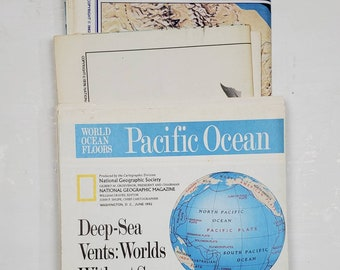 National Geographic Map Collection- Pacific Ocean-gluebook, journal, Art journal, collage