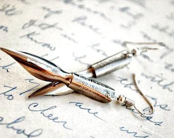 Shakespeare Earrings - Antique Fountain Pen Nib Steampunk Earrings