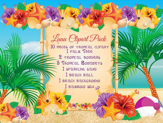 Tropical Themed Party Ideas Free Printables: Beach Luau Clipart Pack