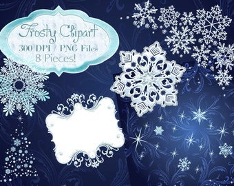 Winter clipart, Frosty clipart, Frosty Winter Frames, Snowflake clipart