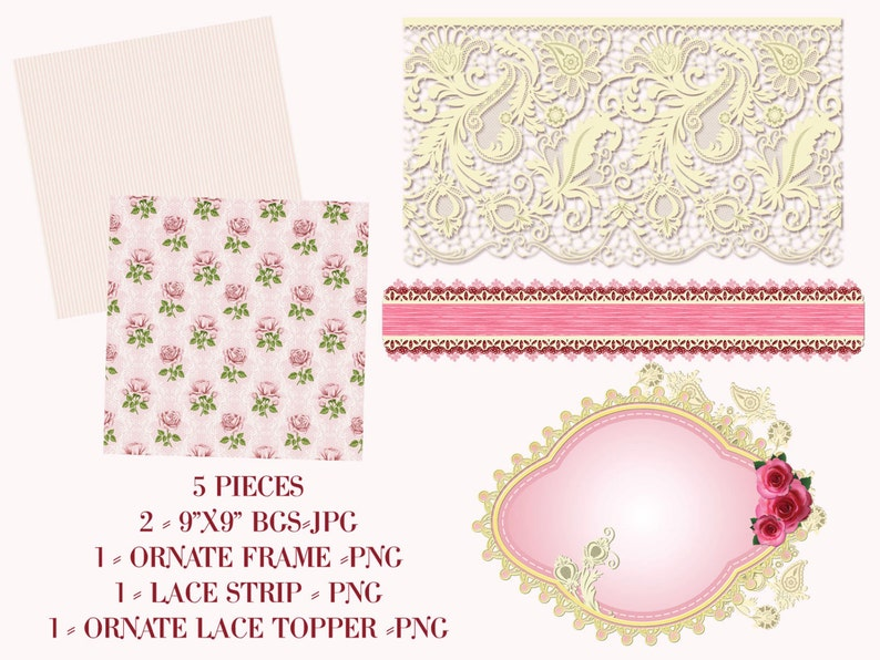 Digital Clipart Floral Clipart Lace Clipart Frame Clipart Beautiful Rose Clipart