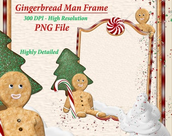Gingerbread Man Clipart, Holiday Clipart, Christmas Clipart Frames