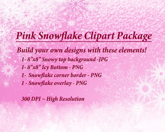 Christmas Top Border Png.Pink Snow Clipart Winter Graphics Pink Snowflake Christmas Clipart