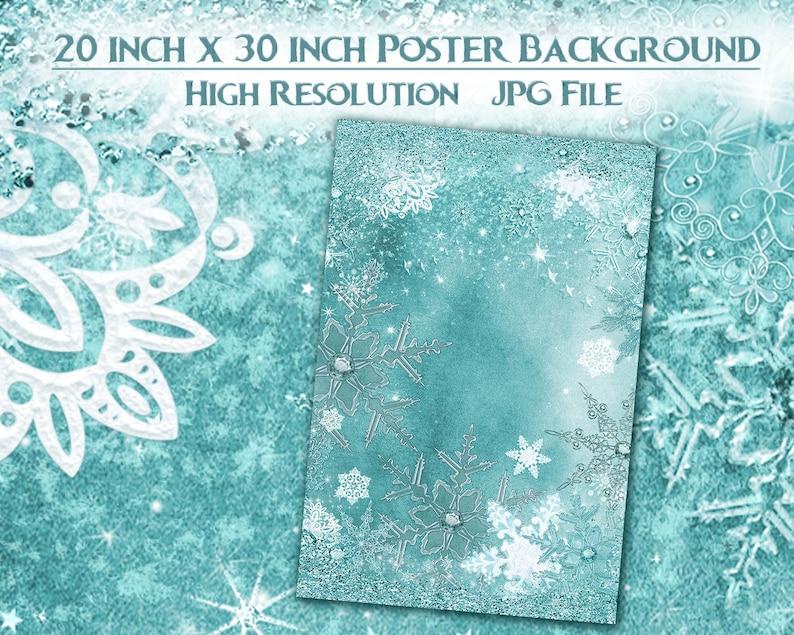 20x30 Frozen Snowflake Poster Snowflake Winter Poster Background
