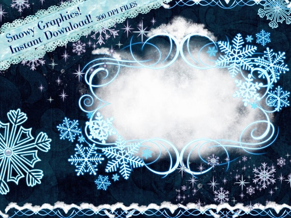 Snow Clipart Winter Graphics Snow Clipart Frames Winter Etsy
