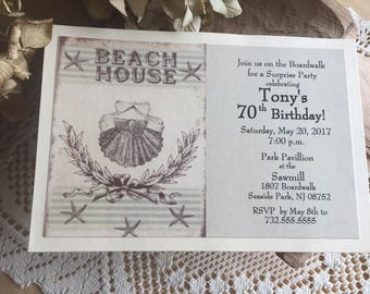 Beach Invitation Vintage Beach Style Birthday  Sea Shell Party Invitation Beach Theme Beach house Set of 10 Invitations