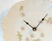 Lavender Floral Scalloped Victorian Porcelain Plate Wall Clock No. 577 (8 inches)