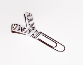 Black And White Music Ribbon Paper Clips   Music Desk Accessories   Planner  Clips   Office Accessories   Paperclip Bookmark   PC040