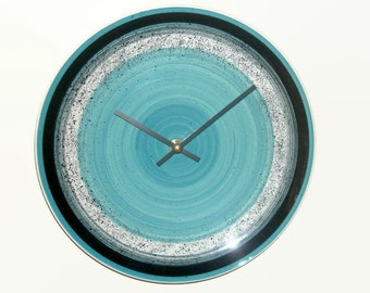 11 Inch Modern Wall Clock Silent, Teal and Black Speckled Ceramic Plate Wall Clock, Unique Wall Clock, Kitchen Clock, Plate Wall Decor 2508