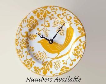 Goldenrod Bird Wall Clock, 8-1/4 Inch SILENT Mustard Yellow Ceramic Plate Wall Clock, Kitchen Clock, Unique Wall Clock, Wall Decor - 2961