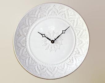 Whitewash Lacy Wall Clock - 11 Inches, Kitchen Wall Clock, Stoneware Plate Clock, Unique Wall Clock - 2416